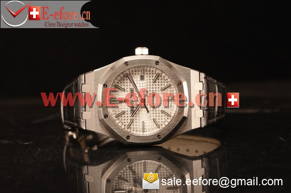 Audemars Piguet Royal Oak 41mm White Dial Automatic Clone Ap 3120 Movement Black Leather 15400ST.OO.1220ST.02 JH