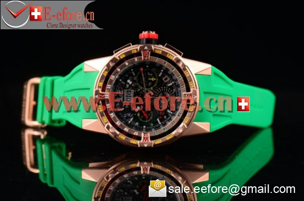 Richard Mille RM 60-01 Rose Gold Green Rubber Strap Watch-RM 60-01 (EF)