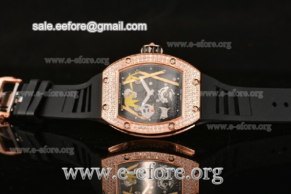 Richard Mille Rose Gold Black Rubber Watch - RM026-01