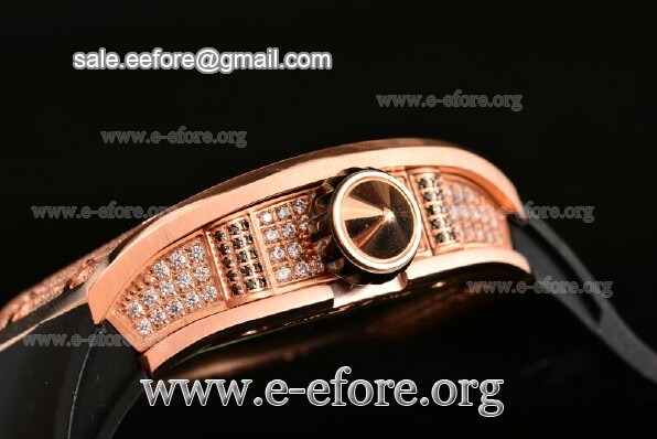 Richard Mille Rose Gold/Diamonds Black Dial Watch - RM026-01