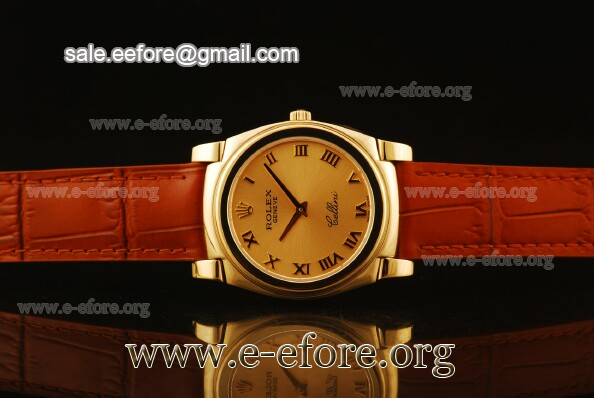 Rolex Cellini Orange Dial Yellow Gold Watch - 5330/5 chrb
