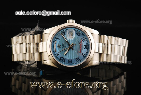Rolex Day-Date II Blue Dial Numeral Markers SS Watch - 218206 blwap
