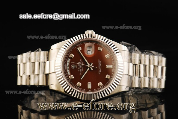 Rolex Day-Date II Brown Dial Diamond Markers SS Watch - 218239 brdp