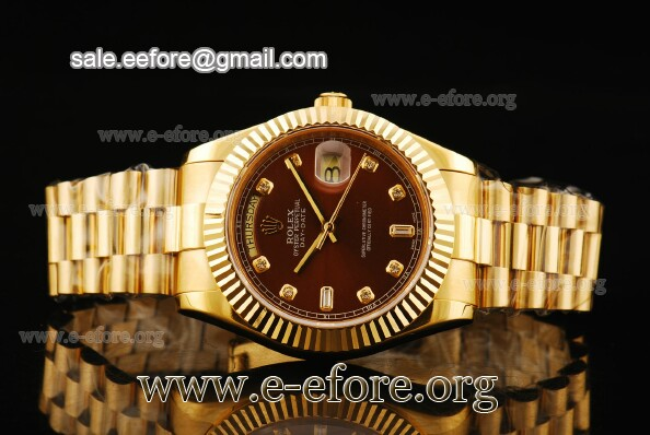 Rolex Day-Date II Brown Dial Diamond Markers YG Watch - 218238 brdp