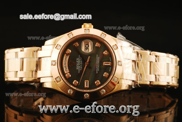 Rolex Day Date Masterpiece Black Mop Dial Rose Gold Watch - 18948-12 bkd