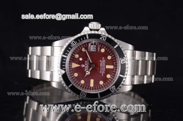 Rolex Tropical Red Submariner Vintage Brown Dial Steel Watch - 1680