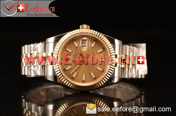 Rolex Datejust 37mm A2836 Two Tone 116233 csj With Gold Dial (BP)