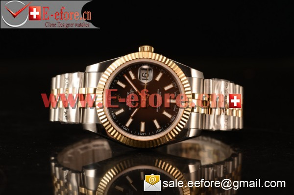 Rolex Datejust 37mm A2836 Two Tone 116233 csj With Black Dial (BP)