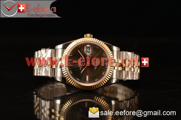 Rolex Datejust 37mm A2836 Two Tone 126331 grejr With Grey Dial Green Roman (BP)