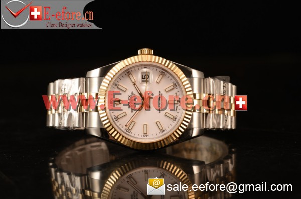 Rolex Datejust 37mm A2836 Two Tone 116233 wsj With White Dial (BP)