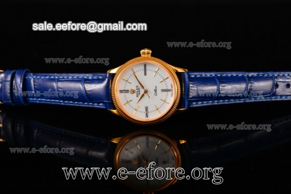 Rolex Cellini Time Blue Leather Watch - 50504