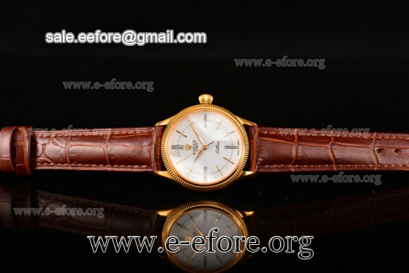 Rolex Cellini Time Brown Leather Watch - 50504