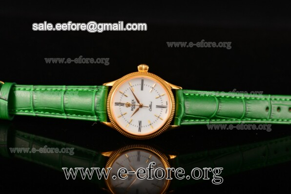 Rolex Cellini Time Green Leather Watch - 50504