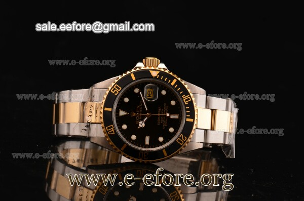 Rolex Submariner Black Dial White Markers Two Tone Watch - 116613 LN