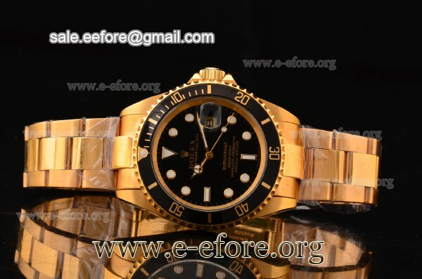 Rolex Submariner Black Dial Full Yellow Gold Watch - 116618 LB