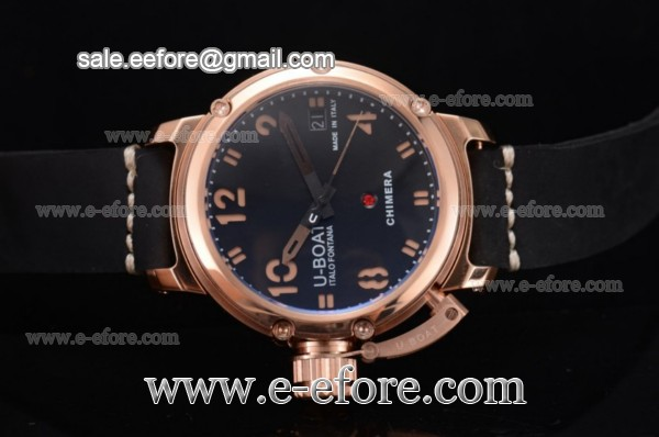 U-Boat Chimera Automatic Black Dial Rose Gold Watch - 7239